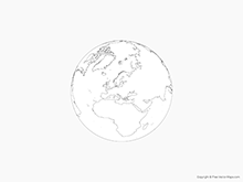 Map of Globe of Europe - Outline