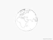 Map of Globe of Middle East - Outline