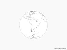 Map of Globe of South America - Outline