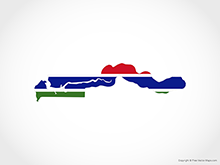 Map of Gambia - Flag