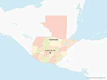 Map of Guatemala with Departments - Multicolor