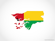 Map of Guinea-Bissau - Flag