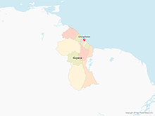 Map of Guyana with Regions - Multicolor