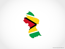 Map of Guyana - Flag