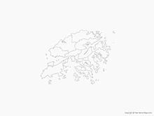 Map of Hong Kong with Districts - Outline