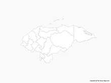 Map of Honduras with Departments - Outline