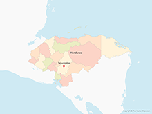 Map of Honduras with Departments - Multicolor