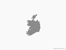 Map of Republic of Ireland with Counties - Single Color