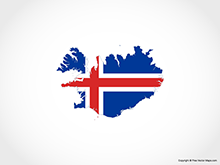 Map of Iceland - Flag