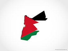 Map of Jordan - Flag