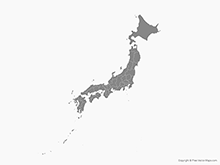 Map of Japan with Prefectures - Single Color