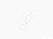 Map of North Korea with Provinces - Outline