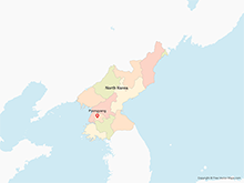 Map of North Korea with Provinces - Multicolor