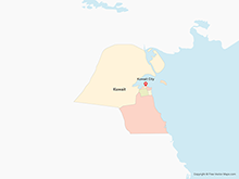 Map of Kuwait with Governorates - Multicolor