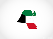 Map of Kuwait - Flag