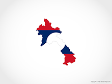 Map of Laos - Flag
