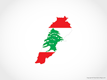 Map of Lebanon - Flag