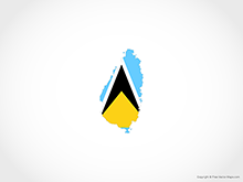 Map of Saint Lucia - Flag