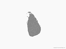 Map of Sri Lanka with Districts - Single Color