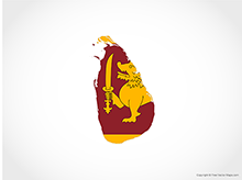 Map of Sri Lanka - Flag