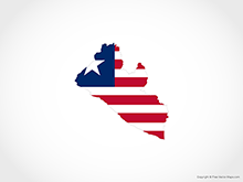 Map of Liberia - Flag