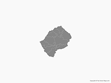 Map of Lesotho with Districts - Single Color