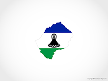 Map of Lesotho - Flag