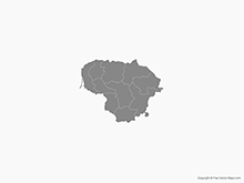 Map of Lithuania with Counties - Single Color