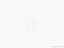 Map of Luxembourg with Districts - Outline