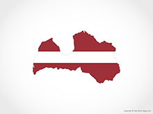 Map of Latvia - Flag