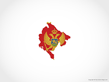 Map of Montenegro - Flag