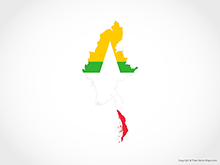 Map of Myanmar - Flag