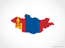 Map of Mongolia - Flag