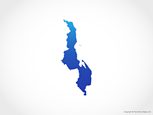 Map of Malawi - Blue