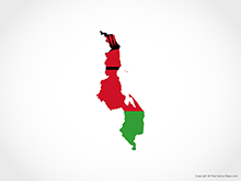 Map of Malawi - Flag