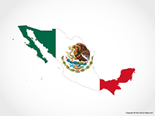 Map of Mexico - Flag