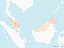 Map of Malaysia with Regions - Multicolor