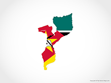 Map of Mozambique - Flag