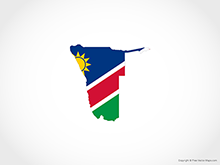 Map of Namibia - Flag