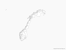 Map of Norway with Counties - Outline