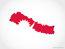 Map of Nepal - Flag