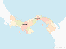 Map of Panama with Provinces - Multicolor