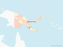 Map of Papua New Guinea with Provinces - Multicolor