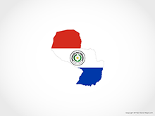 Map of Paraguay - Flag