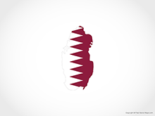 Map of Qatar - Flag