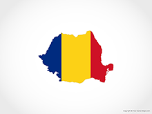 Map of Romania - Flag