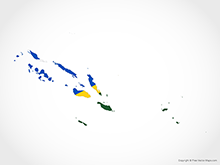 Map of Solomon Islands - Flag