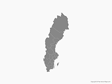 Map of Sweden with Counties - Single Color