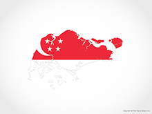 Map of Singapore - Flag