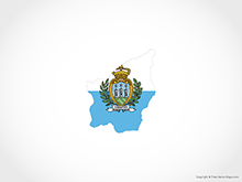 Map of San Marino - Flag
